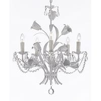Wrought Iron and Crystal Floral White Chandelier