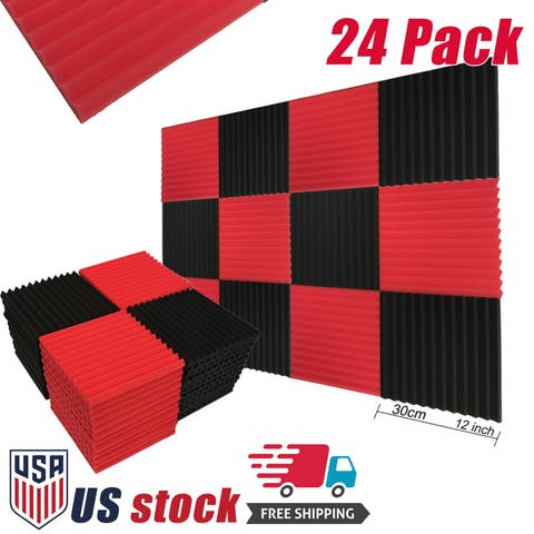24/72 Pack Soundproofing Foam Panel Wedge Studio Acoustic Foam Tiles 12 x 12x1 '' Red/Black