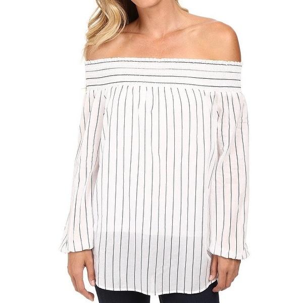 9cd065287e2258 Michael Kors NEW White Womens Size Medium M Striped Off Shoulder Blouse