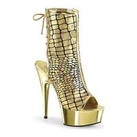 Pleaser Women's Delight 1018HG Open Toe Lace Up Boot Gold Hologram Ostrich PU/Gold Chrome