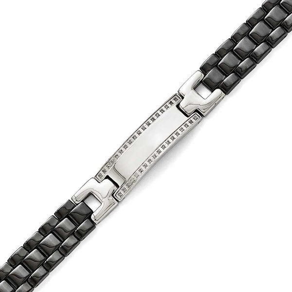 Chisel Stainless Steel/Ceramic Polished 1/4ct tw. Diamond Bracelet