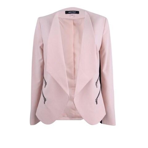 Nine West Women's Plus Size Zip-Pocket Open-Front Blazer - shell/black