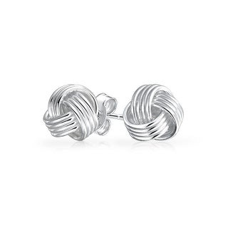 Bling Jewelry Grooved Woven Petite Love Knot Stud earrings 925 Sterling Silver 8mm