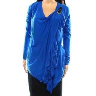 INC NEW Caribe Blue Womens Size Medium M Ruffle Wrap Knit Sweater
