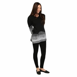 Women's Tunic Top- Black and White Rose Border Long Sleeve Shirt