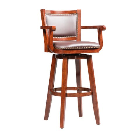Broadmoor Extra Tall Cherry Brown Swivel Wood Stool