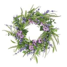 "24"" Decorative Purple and Green Daisy and Mixed Berry Artificial Floral Wreath - Unlit"