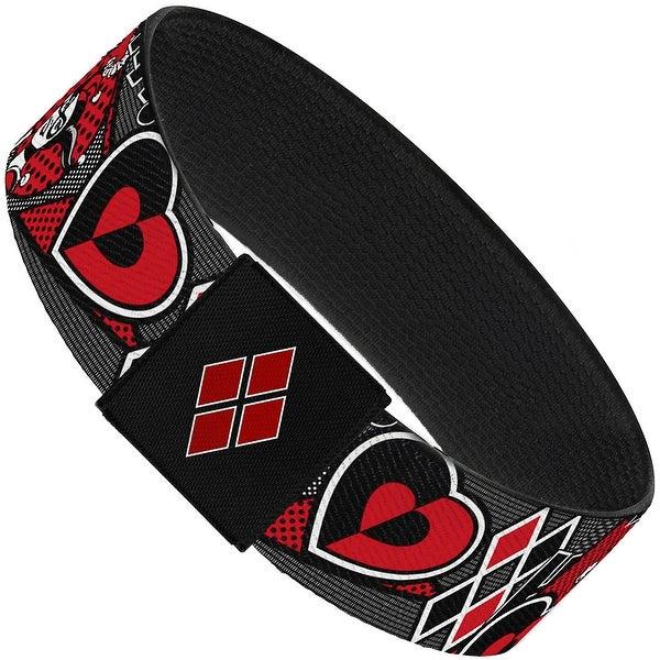 "Harley Quinn Poses Hahaha! Diamonds Hearts Halftone White Black Red Elastic Elastic Bracelet 1.0"" Wide"