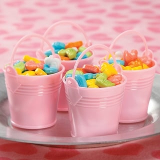 Party Favors 12/Pkg-Pink Baby Buckets - pink baby buckets