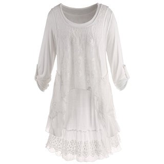 Women's Wispy White Tunic Set - Long Roll-Tab Sleeves Tunic Top & Lace Tank