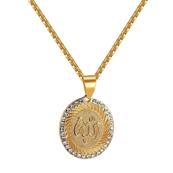 Allah Muslim God Pendant Gold Tone Stainless Steel Simulated Diamonds Necklace