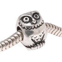 TierraCast Silver Plated Pewter European Style Large Hole Owl Bead 12mm (1)