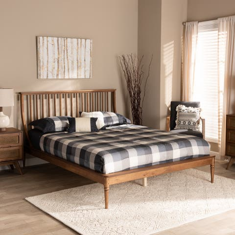 Abel Classic and Traditional Wood Platform Bed-Walnut Brown
