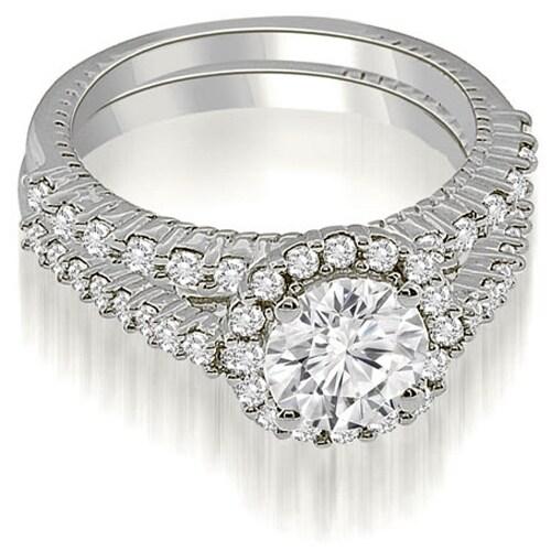 1.47 cttw. 14K White Gold Antique Halo Round Cut Diamond Bridal Set