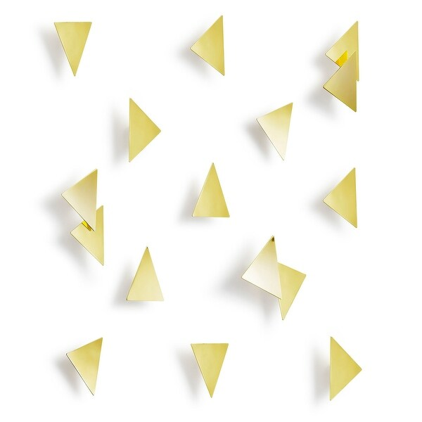 Umbra 1004369 Set of 16 Confetti Steel Triangular Wall Decals by Laura Carwardine - Brass