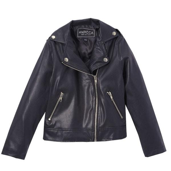e99f1bd329e5 Shop Mini Moca Little Girls Black Faux Leather Zipper Pockets Jacket - Free  Shipping On Orders Over $45 - Overstock - 24122008