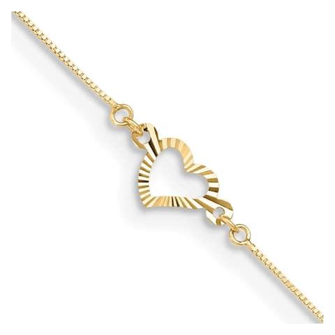 """14k Yellow Gold Fancy Heart Anklet, 10"""" w/1in Extender"""