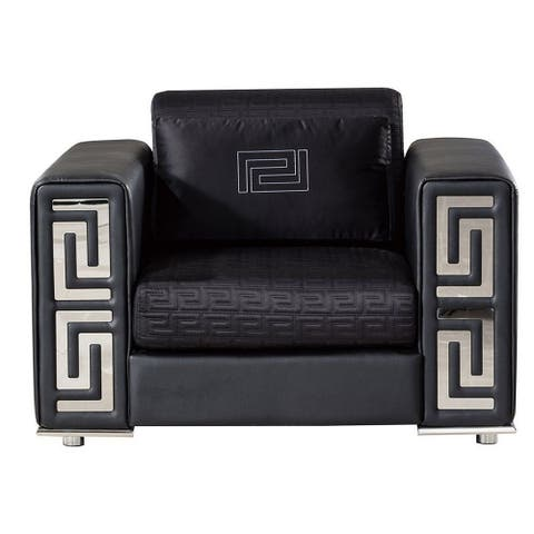 Faux Leather Upholstered Chair with Pillow and Track Arms, Black and Chrome