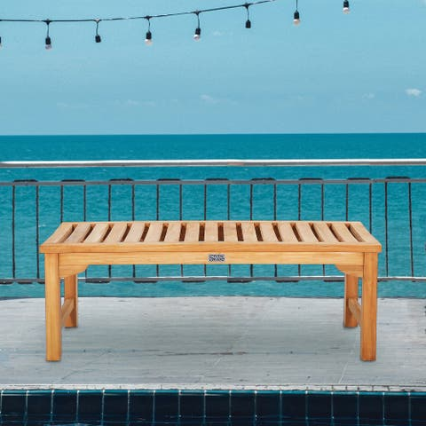 Seven Seas Teak Ocean City Outdoor Teak Wood Patio Backless Bench, 4 Foot