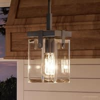 "Luxury Modern Farmhouse Pendant Light, 11.875""H x 6.5""W, with Industrial Chic Style, Brushed Nickel Finish by Urban Ambiance"