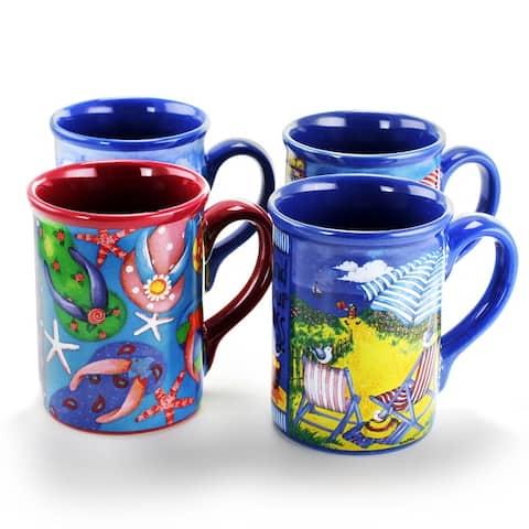 Gibson Home Beachcomber 4 Piece 16 Ounce Stoneware Mug Set in Assorted Designs