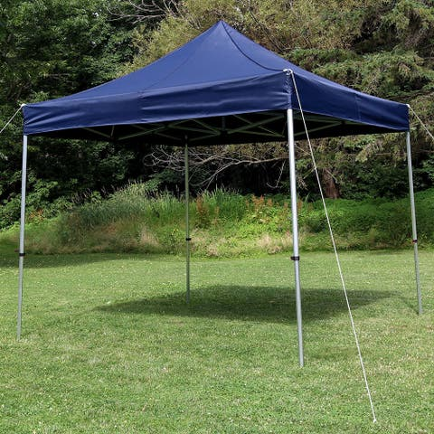 Sunnydaze Commercial-Grade Aluminum Straight Leg Quick-Up 10-Foot Canopy - Blue