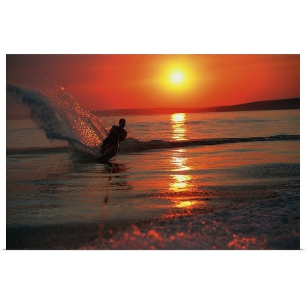 """Waterskiing at sunset"" Poster Print"