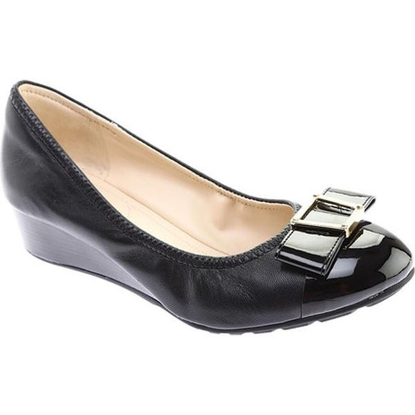 c1c23269c433 Shop Cole Haan Women s Emory 40mm Bow Wedge II Pump Black Leather ...