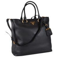 Prada 1BG865 Black Leather Vitello Phenix Convertible Tote Handbag Shopper