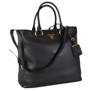 Prada 1BG865 Black Leather Vitello Phenix Convertible Tote Handbag Shopper