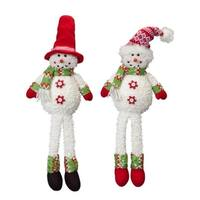 Set of 4 Chenille Sitting Snowmen with a Red and White Designed Hat 20""