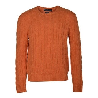 Polo Ralph Lauren RL Cable Knit Crewneck Sweater X-Large Orange Pullover - XL