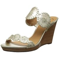 Jack Rogers Womens Luccia Leather Open Toe Special Occasion Slide Sandals