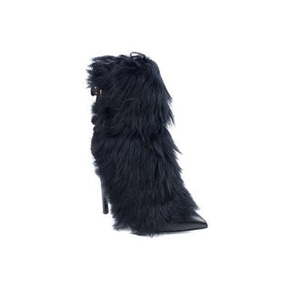 Roberto Cavalli Womens Black Fur Trimmed Leather Boots