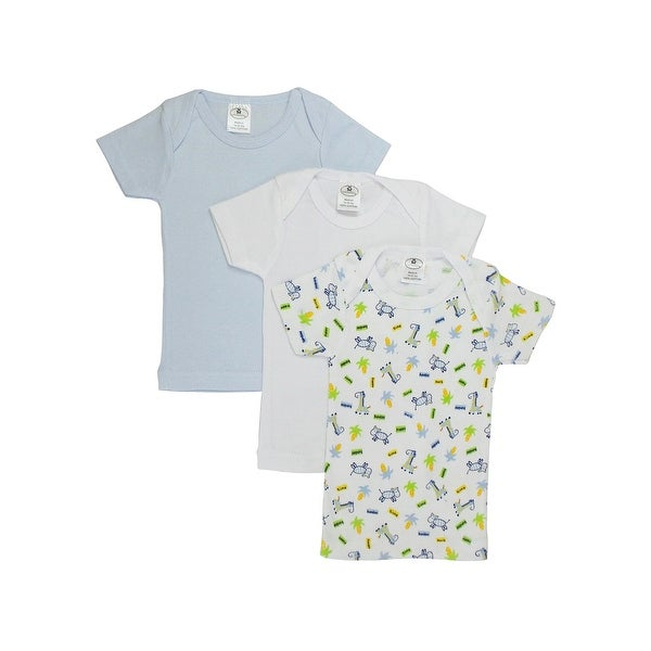 Bambini Baby Boy's White, Blue, Printed Rib Knit Short Sleeve T-Shirt 3 - Pack