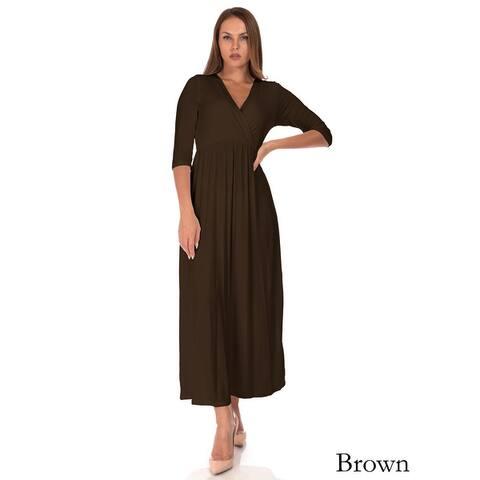 SR Women's Casual Maternity V Neck Wrap Floor Length Maxi Dress