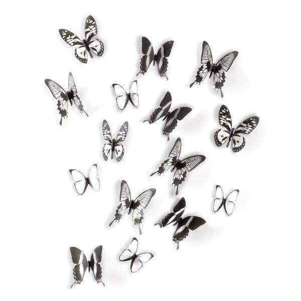 Umbra 470340 Set of 16 Chrysalis Plastic Wall Decals by Alan Wisniewski - Black / Clear