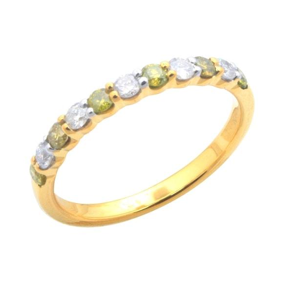 Brand New 0.50 Carat Prong Set Yellow Color Diamond & Natural Diamond Wedding Band