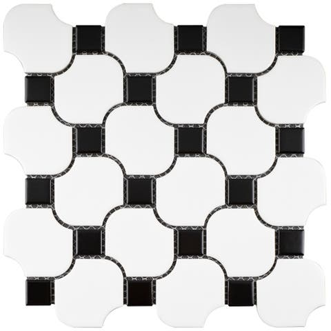 TileGen. Halibon with Dot Random Sized Porcelain Mosaic Tile in White/Black Floor and Wall Tile (11 sheets/8.03sqft.)