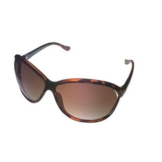 Ellen Tracy Womens Sunglass 522 1 Tortoise Crystal Rectangle, Brown Gradient Lens - Medium