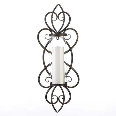 Heart Shaped Candle Wall Sconce - Copper