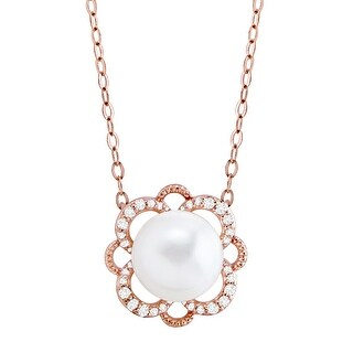 8 mm Freshwater Pearl & 1/10 ct Diamond Flower Necklace in 10K Rose Gold