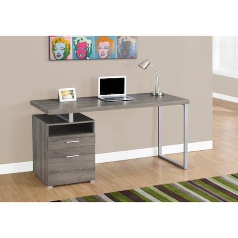 Monarch 7145 Dark Taupe Silver Metal Computer Desk
