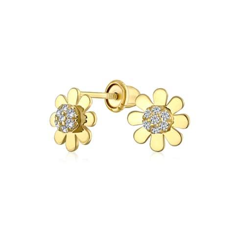 Tiny CZ Daisy Flower Stud Earrings Real 14K Yellow Gold Screwback