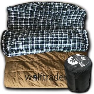 Wolftraders TwoWolves -30 Degree Fahrenheit 2-Person Premium Canvas Sleeping Bag, Brown/Blue