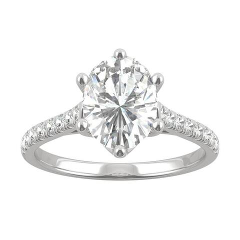14k White Gold Moissanite by Charles & Colvard Oval Six Prong Engagement Ring 2.34 TGW