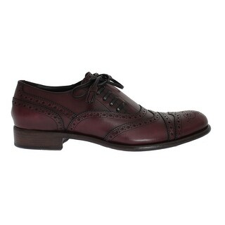 Dolce & Gabbana Bordeaux Leather Wingtip Oxford Shoes