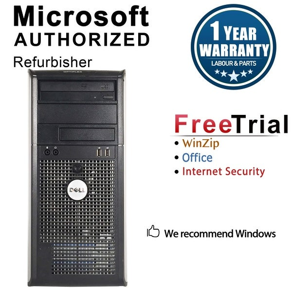 Dell OptiPlex 780 Computer Tower Intel Core 2 Duo E8400 3.0G 8GB DDR3 2TB Windows 7 Pro 1 Year Warranty (Refurbished) - Silver
