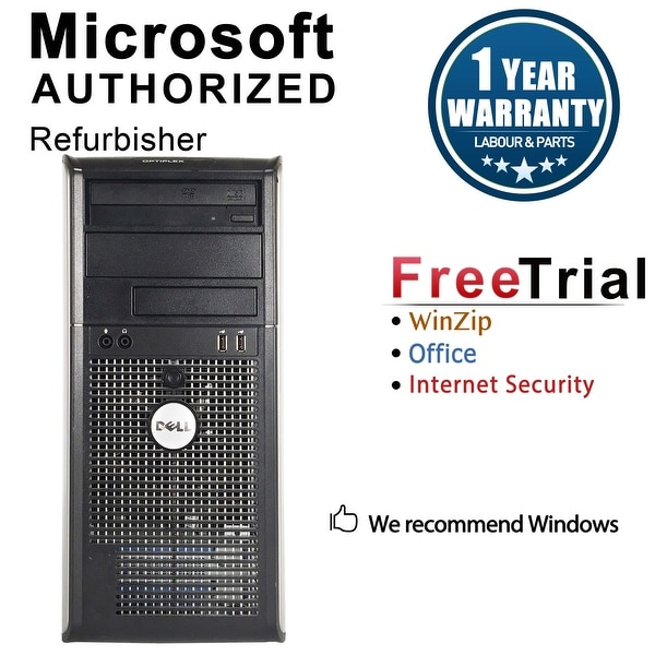 Dell OptiPlex 780 Computer Tower Intel Core 2 Quad Q8200 2.33G 8GB DDR3 500G Windows 7 Pro 1 Year Warranty (Refurbished)