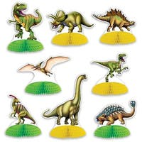 "Club Pack of 96 Mini Dinosaur Centerpiece Table Top Decorations 6.25"" - Green"